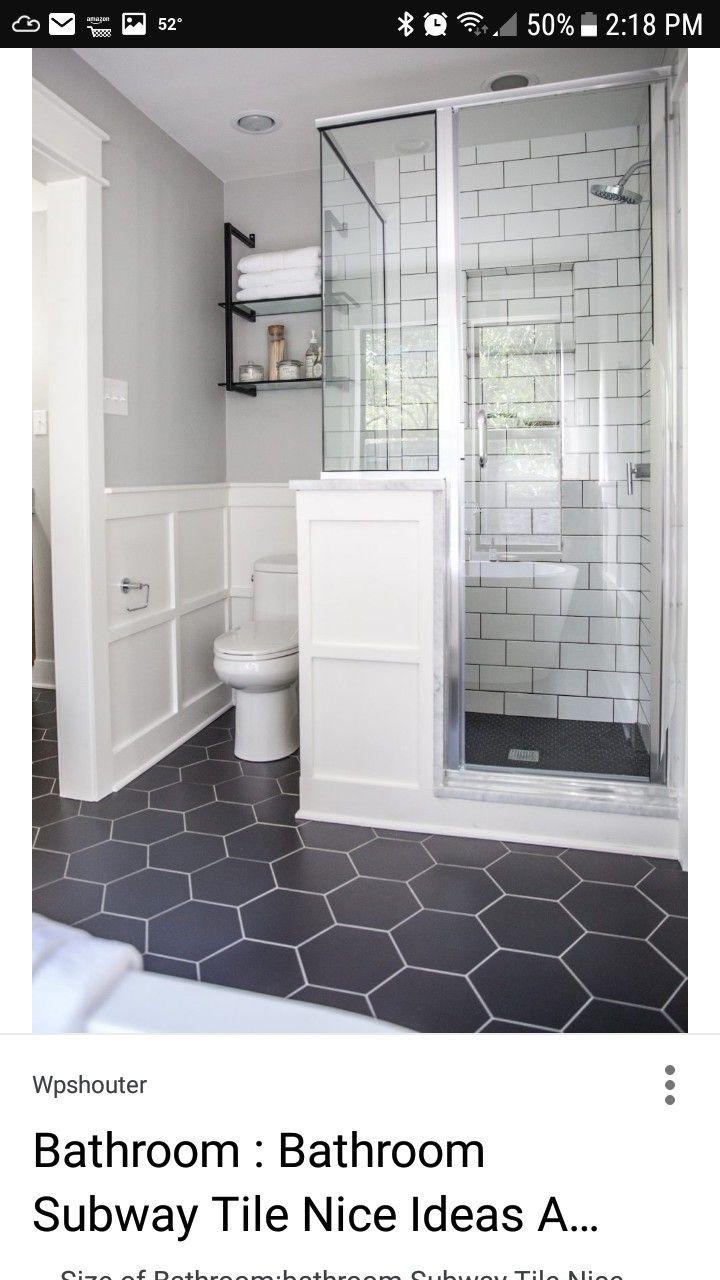Bathroom ideas Love the black hexagon tile floor, white subway tile ...