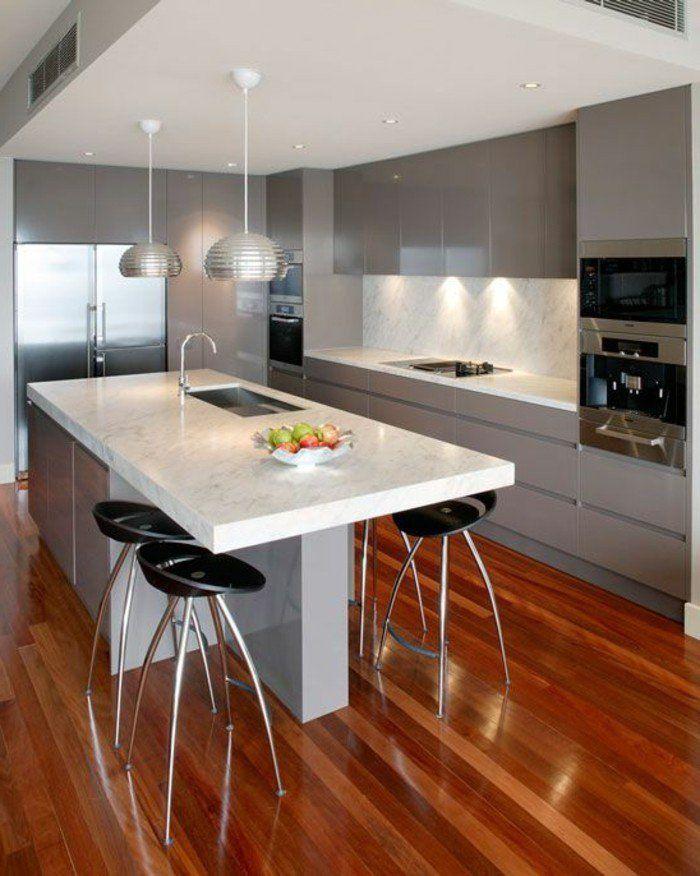 La cuisine équipée avec îlot central - 66 idées en photos - Archzine - agencement de cuisine ouverte
