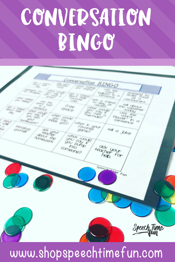 Conversation BINGO: a fun and interactive activity to build social skills, fluency or articulation carryover, encourage interaction, and perfect for speech and language therapy.