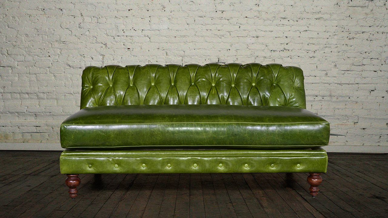 Classic Chesterfield Armless Leather Loveseat - Made in ...