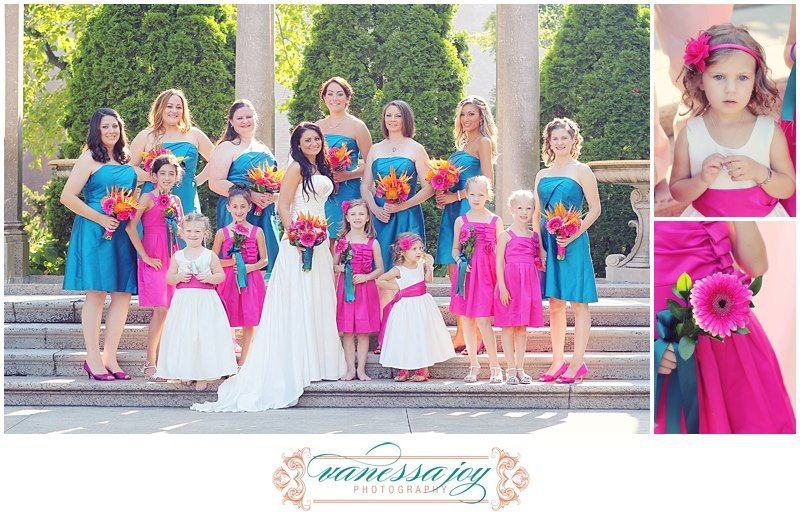 Bridesmaids Junior And Flower S Wedding Colors Are Teal Fuschia With