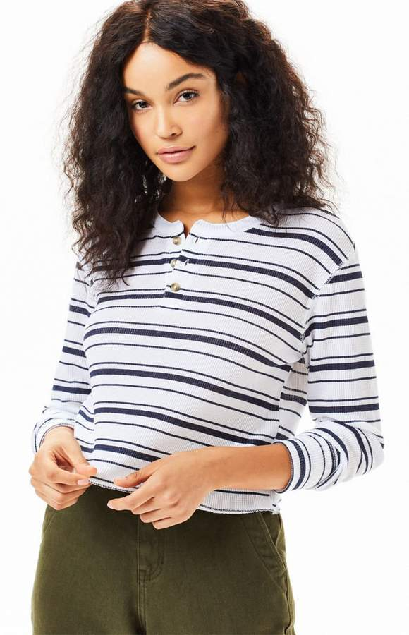 866c36f9b3 Me To We Striped Jarred Waffle Knit Long Sleeve T-Shirt | Products
