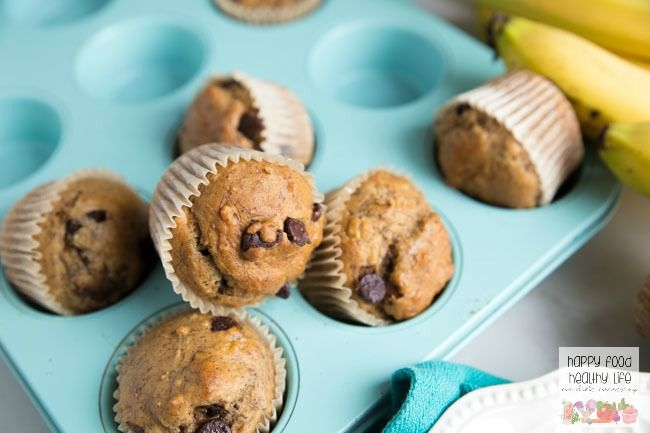 These Banana Bread Dark Chocolate Chip Muffins are the perfect after-school snack. It'll fill up those little bellies with a healthy snack but won't ruin their appetite for dinner. Click through for this super easy recipe!