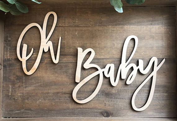 Oh Baby Wood Baby Shower Sign || baby shower backdrop keepsake gift gender reveal baby announcement photo shoot prop #pictureplacemeant