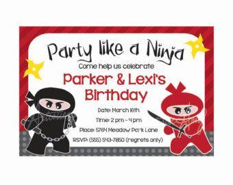 ninja birthday invitation - Google Search | Birthday | Pinterest ...