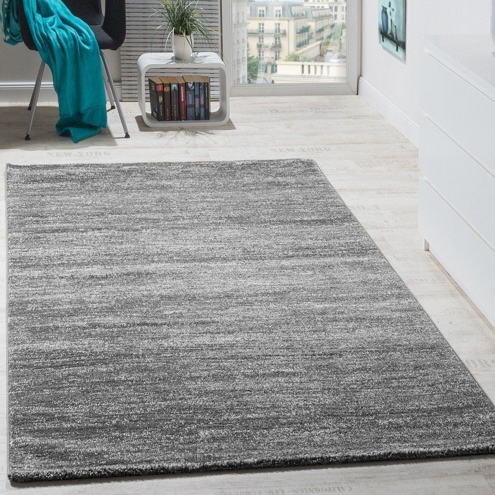 Amazon.de: Teppich Modern Wohnzimmer Kurzflor Gemütlich Preiswert Meliert  In Grau Creme