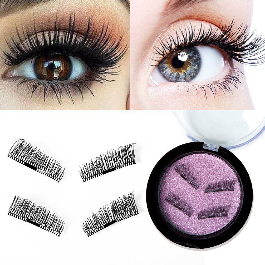 06e473fcd76 Magnetic False Eyelashes 3D Fake Eyelashes for Natural Look, Ultra Thin  Artificial Silk Lashes Glueless