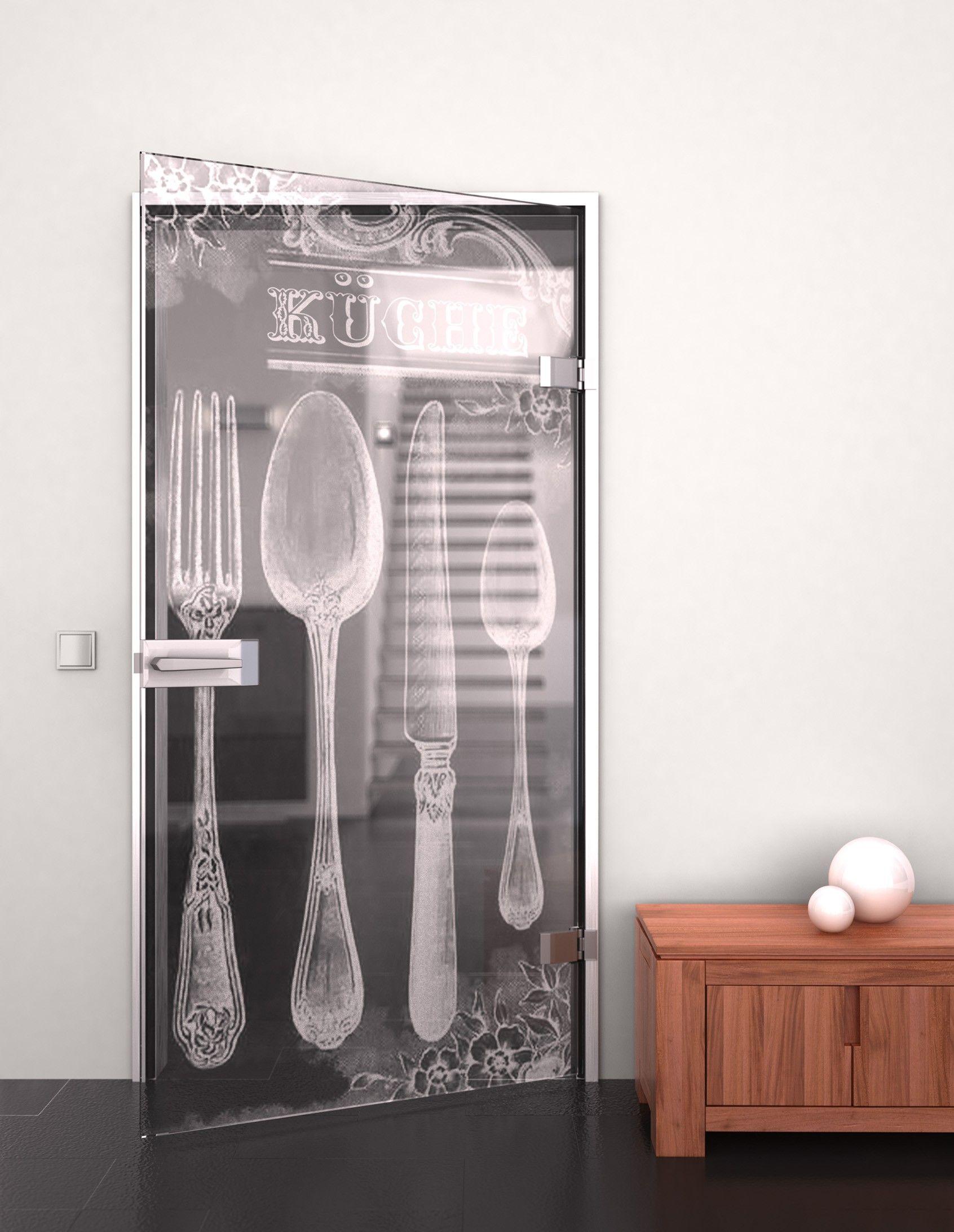 Glastür aus ESG Retro Küche Glastüren Glastüren gelasert