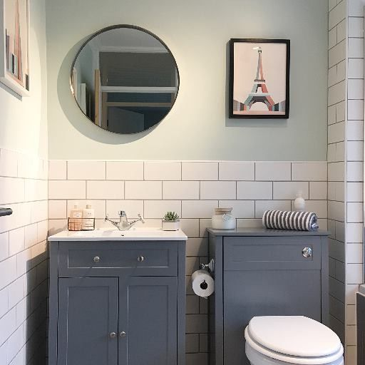 Bathroom With White Metro Tiles And Grey Grout Mint Walls And Grey Units Black Bathroom