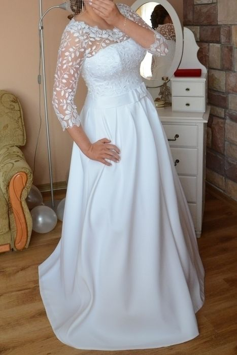 5e2da0b5 suknia ślubna biała orozco rosa clara koronka listki rękaw 3/4 ...