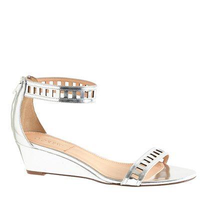 8086f99990ab Lillian mirror metallic lattice low wedges - wedges - Women s shoes - J.Crew