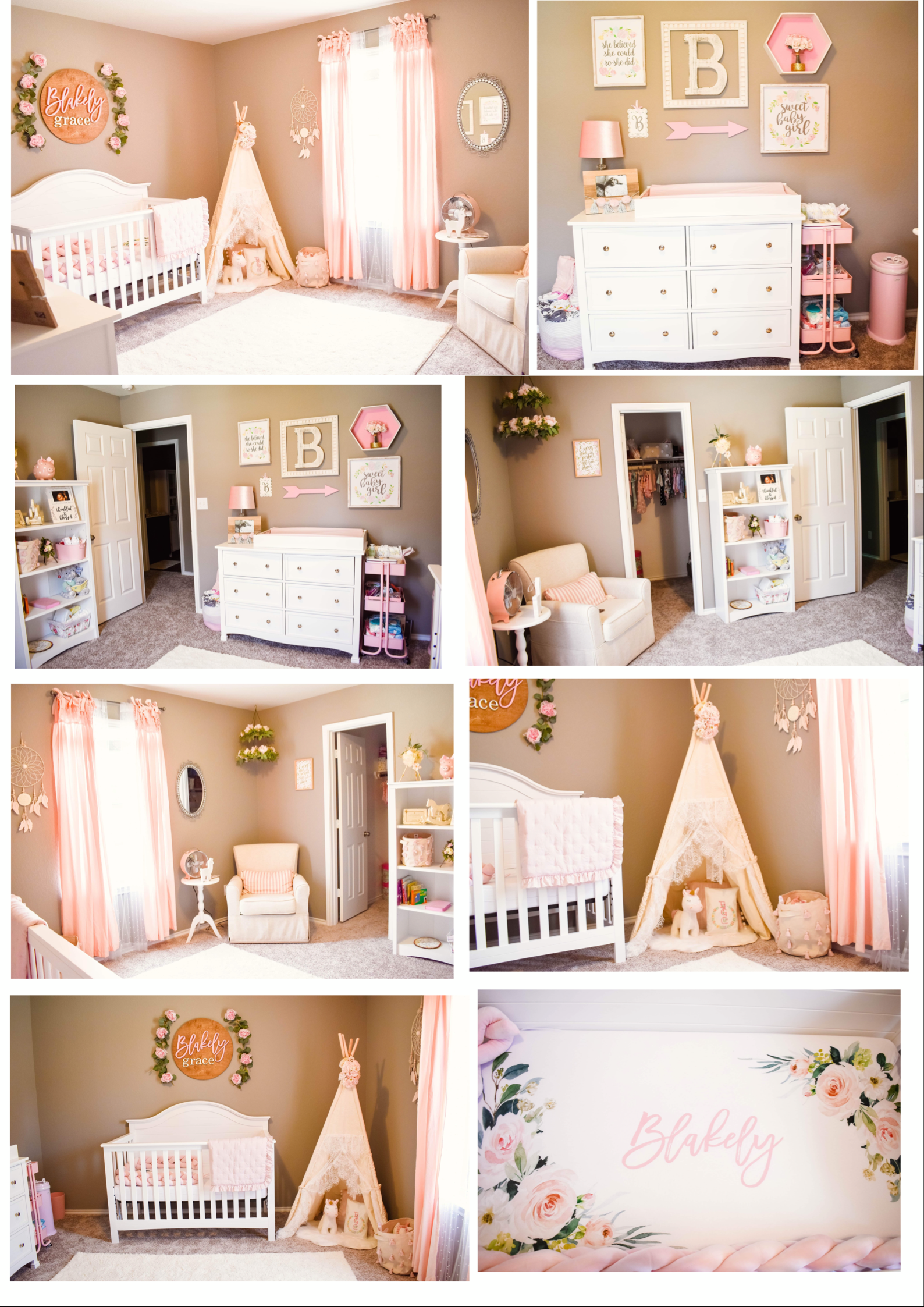 Girl Nursery Ideas Pink Gray And White Colors Boho Shabby Chic Baby Girl Nursery Pink Boho Baby Girl Nursery Shabby Chic Baby Girl Nursery