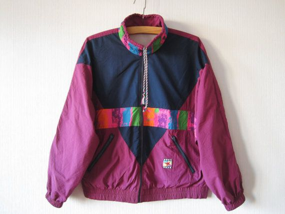Vintage 80s Windbreaker Colorblock Parka Purple Hipster Jacket Purple Windbreaker Lightweight Jacket Jogging Jacket Unisex Small to Large uVQMi8bC