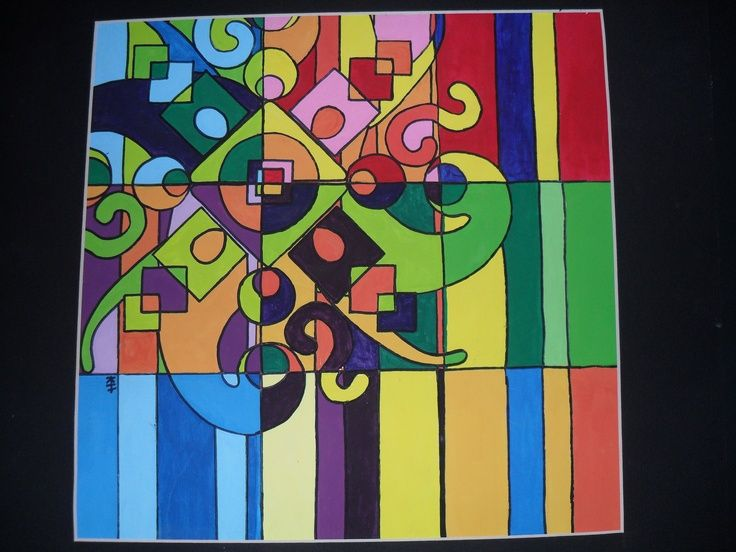 5 Elements Of Art : Zentangle combined with colour kids art project