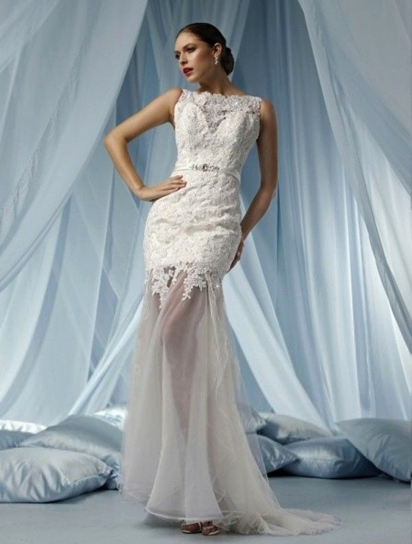 2015 Style Trumpet Mermaid Bateau Court Trains Sleeveless Satin and Lace Wedding Dresses For Brides