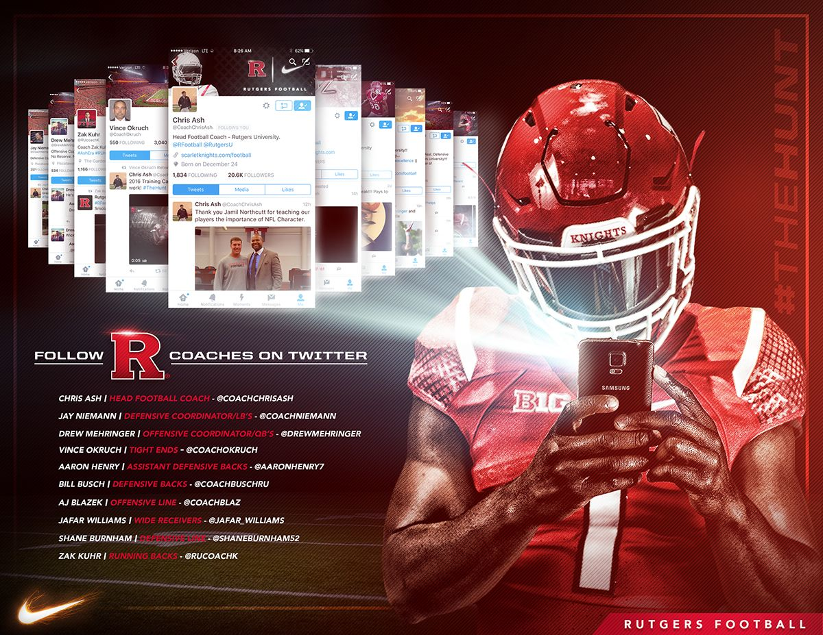 Rutgers Follow Coaches Twitter Pages Graphic On Behance Rutgers Football Sports Graphic Design College Football Recruiting