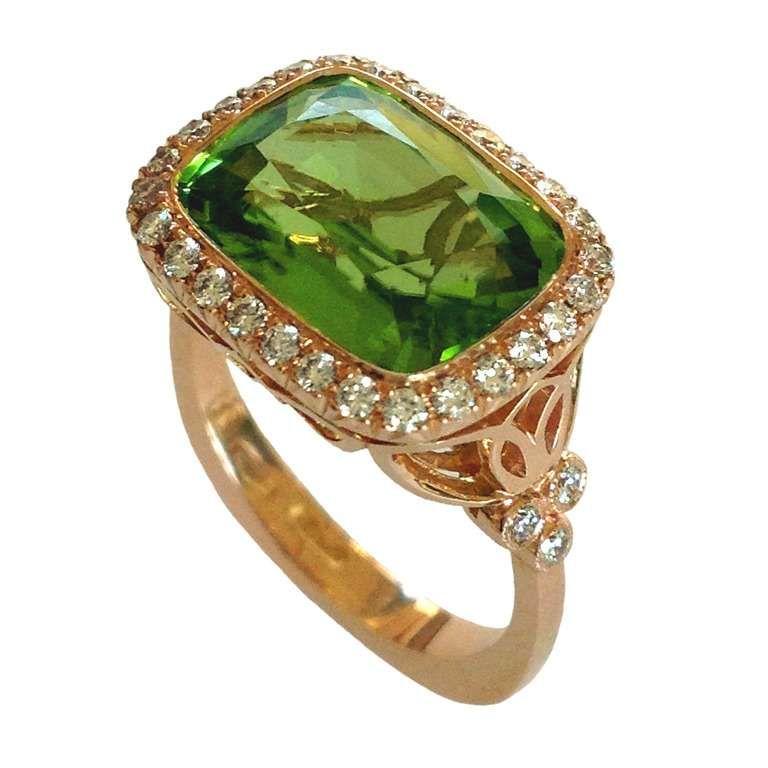Dalben Peridot Diamond Gold Ring 1