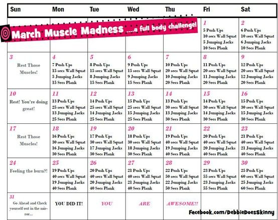 March Workout Calendar From Debbie Does SKinny Fitness