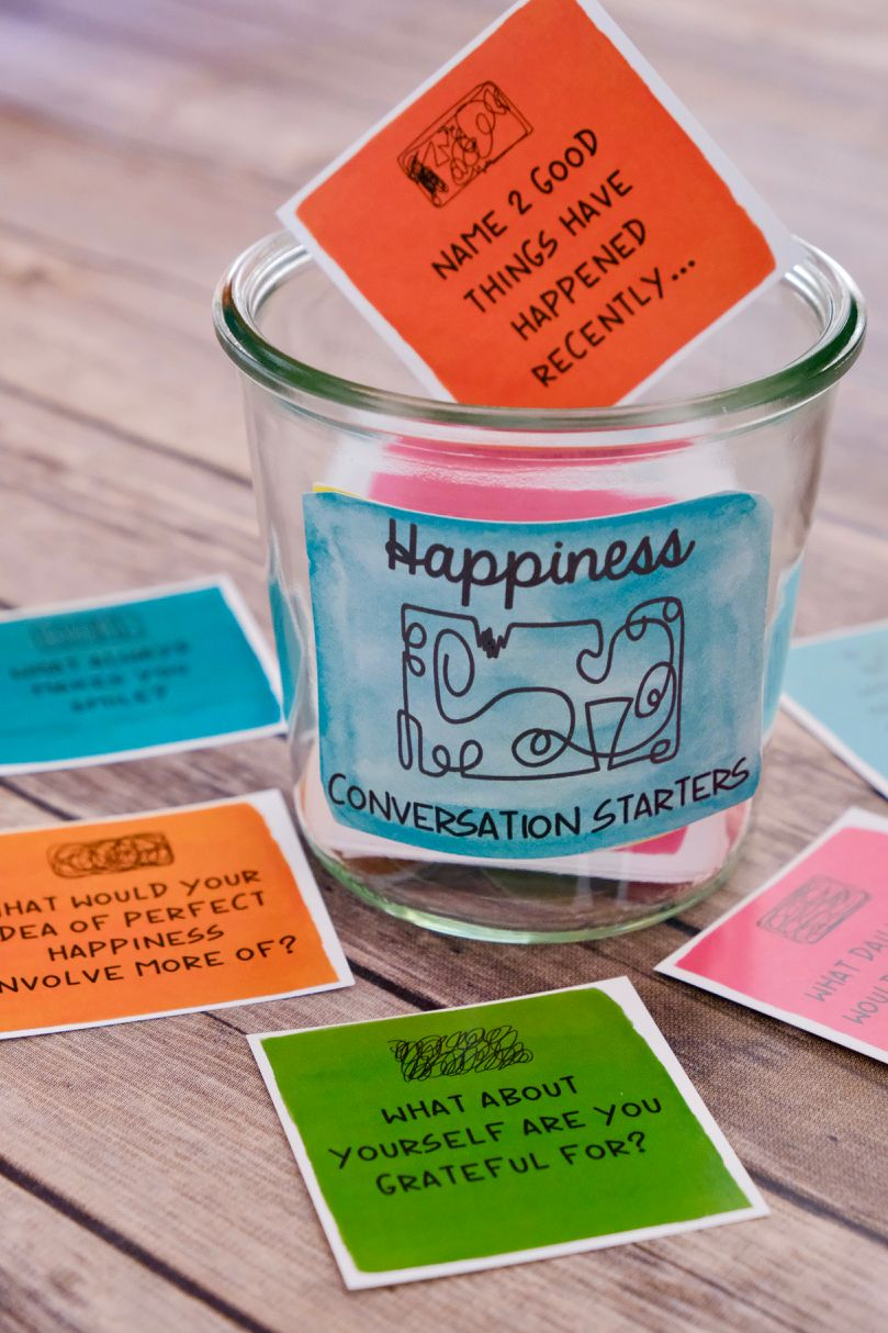 Happiness Theme Inspirational Question Cards And Conversation Etsy This Or That Questions Question Cards Conversation Starters