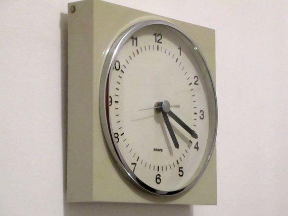 1970s KRUPS German Vintage Grey Wall Clock by Decofanatique