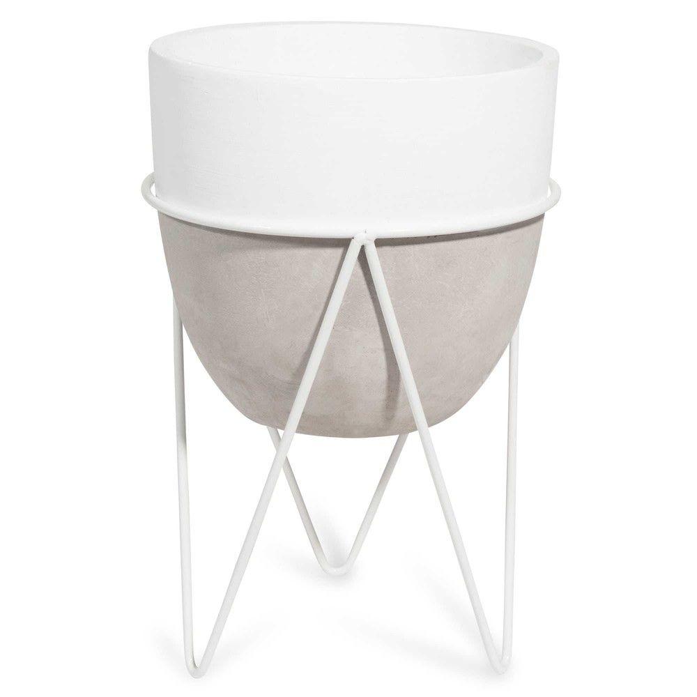 Macetero Con Pie De Cemento Y Hierro Forjado Blanco For The Home  # Sujetar Muebles Furgoneta