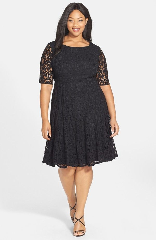 at Nordstrom Lace Fit & Flare Dress in black   #4 - Curvy Girl ...