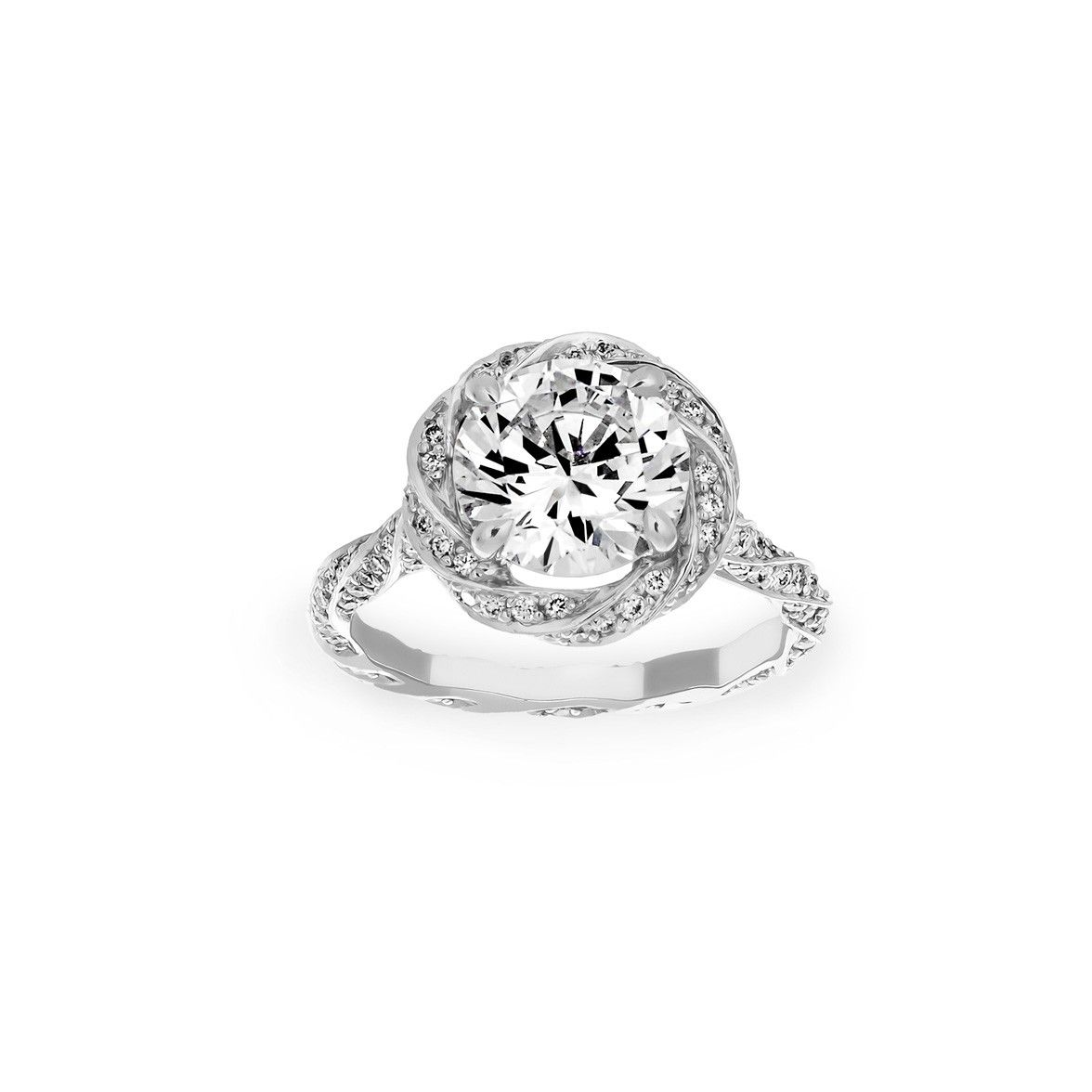 I Want This Michael B Diamond Twist Shank Engagement Ring at