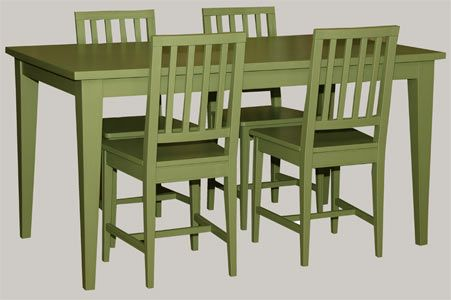 Koivupöytä ja 4-pinnatuolit maalattuna Ottosson pellavaöljymaaleilla sävyyn: Antiikinvihreä. -Värillä on Väliä!- juvi.fi #vihreä #ruokaryhmä #ruokapöytä #kustavilainen #tuoli #juviproduction #juvi