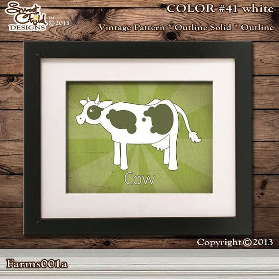 Farm Animals Nursery Art Cow Room Decor Old Mcdonalds Baby Artwork