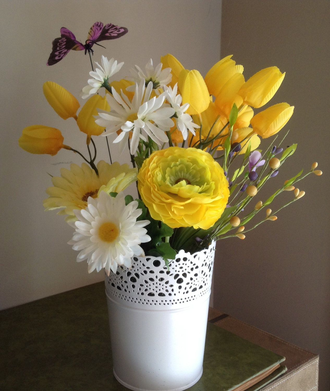 Yellow Tulips Daisies Silk Flower Arrangement White Metal Vase