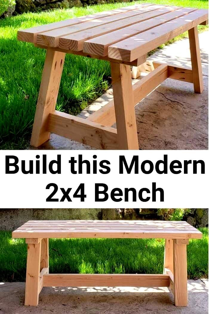 Build this beginner project Modern 2x4 Bench with my DIY Tutorial using construction 2x4s but with a modern twist. Great budget friendly DIY for a patio entryway or a dining room. #girljustdiy ...needed. To keep the beams from moving a small wedge or dowel can be pushed into the gaps but this is not really necessary.To finish the oak use a bel...rit belt. Try and finish the bottom of the cutouts to a reasonably high standard as this ensures your beams sit square. My personal preference is to g #