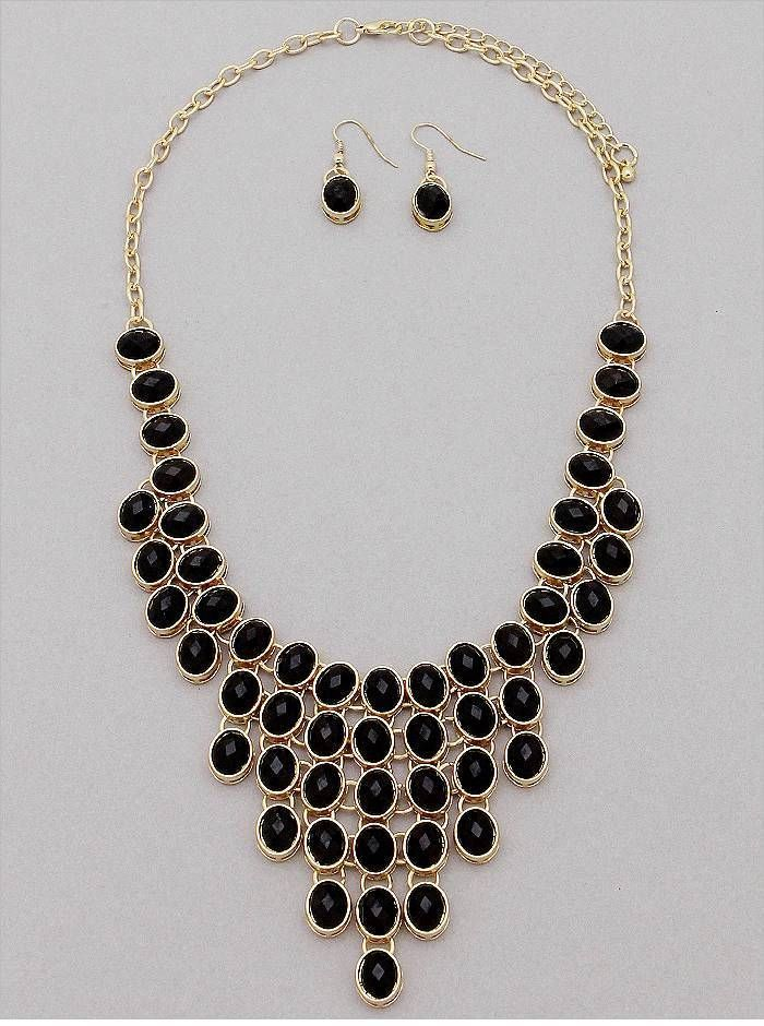 BLACK OVAL FACETED LUCITE STUD GOLD TONE BASE BIB V STYLE NECKLACE EARRING