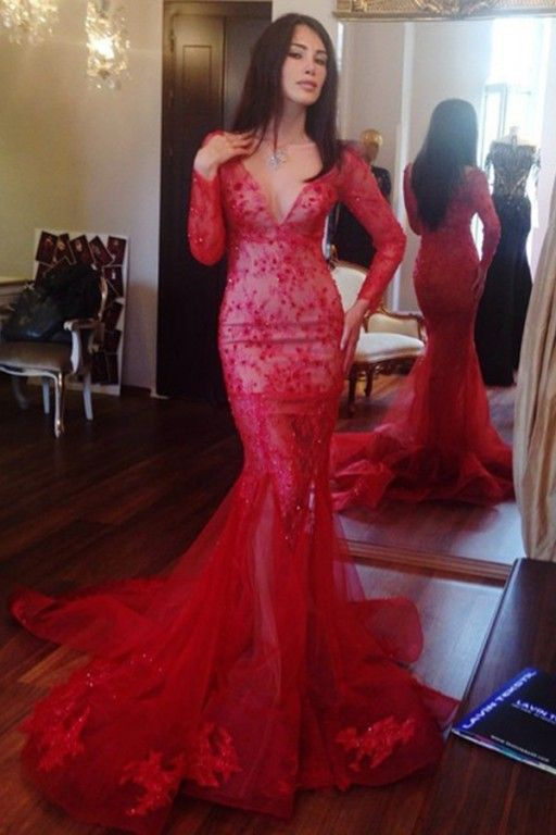 4424876ff859 Evening Dresses Mermaid Deep V-neck Long Sleeves Sweep Train Red Prom Dress  With Lace Beading