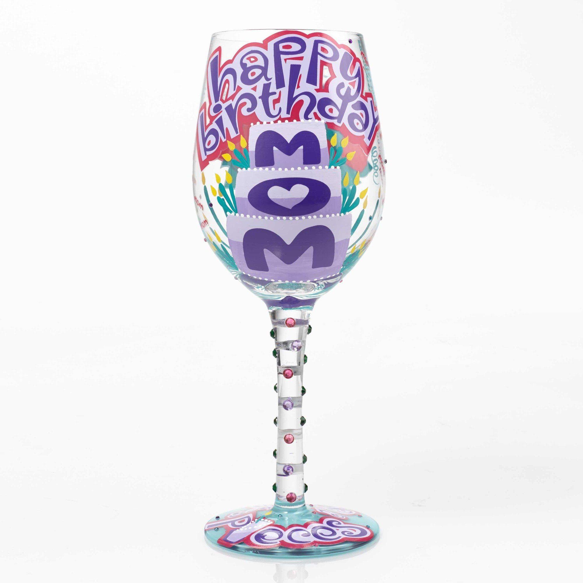 Happy Birthday Mom Wine Glass Mom Wine Glass 60th Birthday Wine