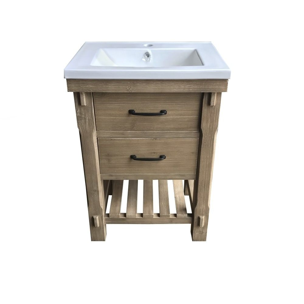 24 Rustic Solid Fir Single Sink Vanity With Ceramic Top No Faucet