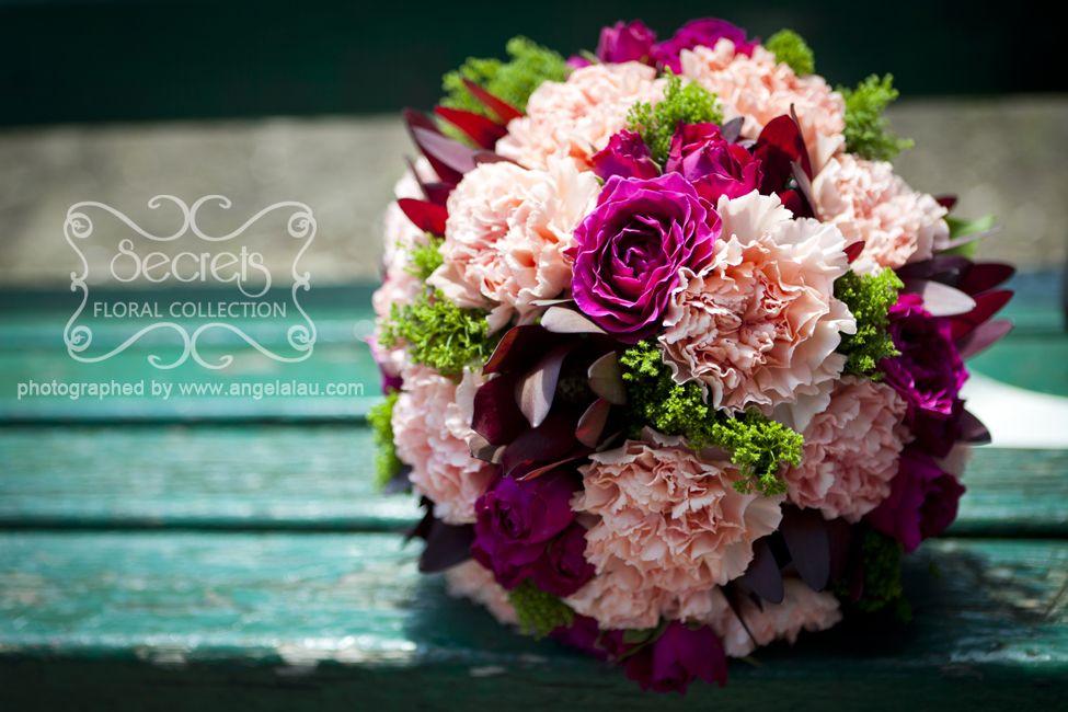 Fresh Pink Carnations, Fuchsia Spray Roses, Burgundy