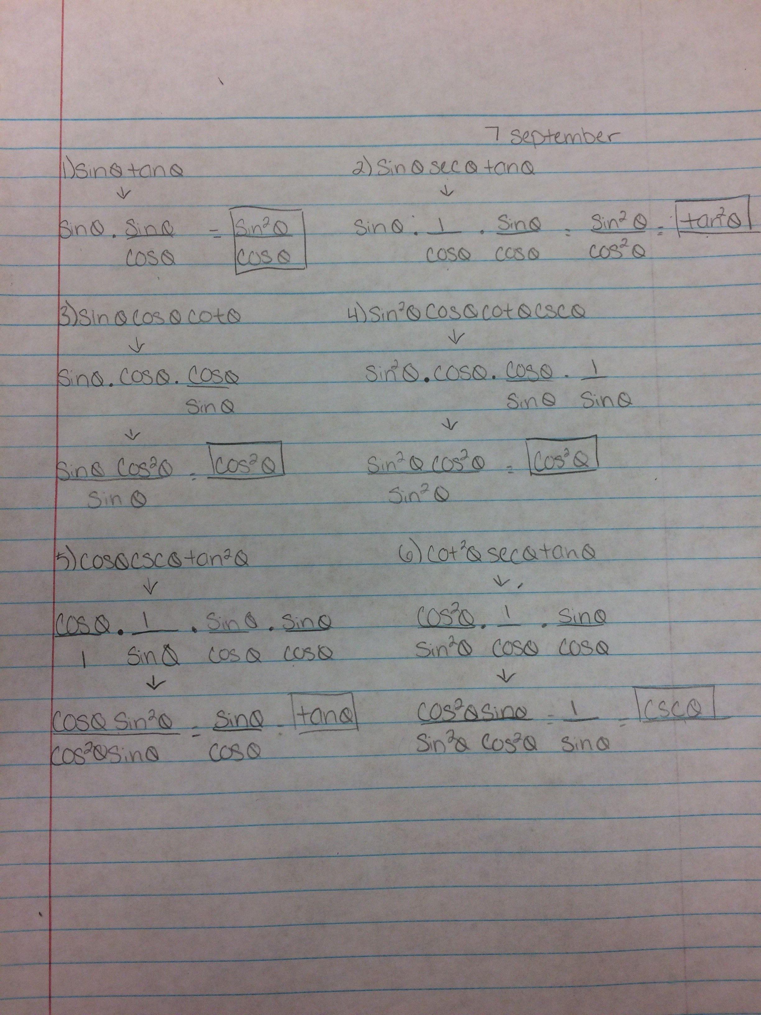 Periodic Verifying Trigonometric Identities Worksheet With