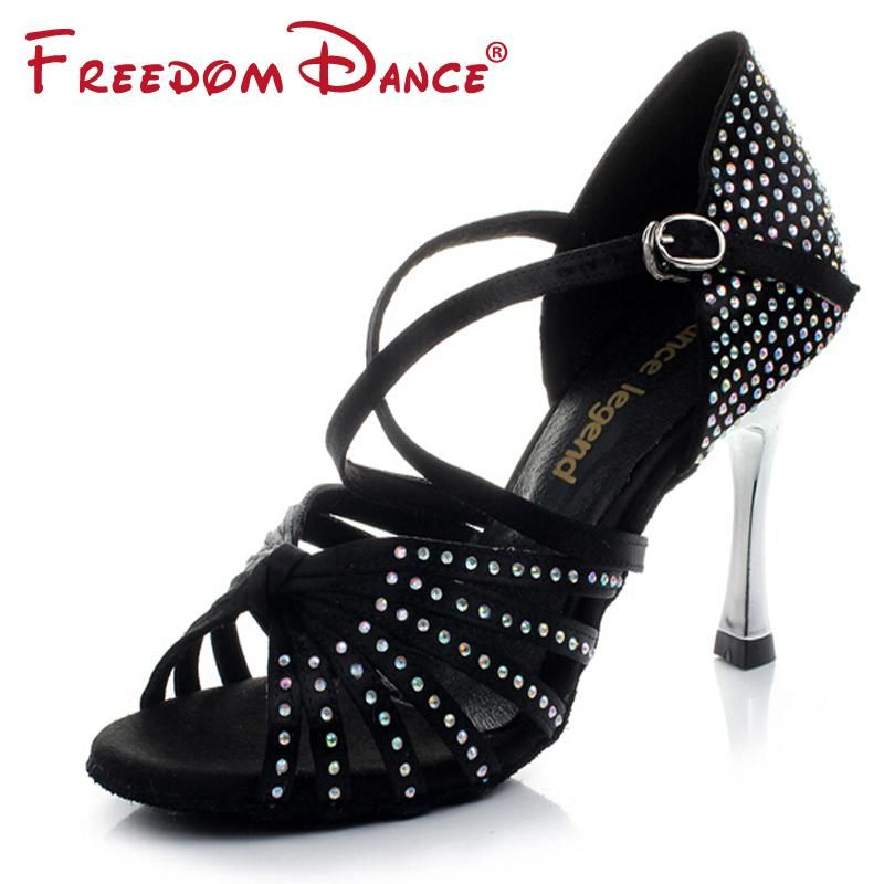 fa41884e7 Golden High Heel Satin Rhinestones Women's Latin Dance Shoes Ballroom Shoe  Sandals 8.5cm Heel Girls Dancing Shoes Salsa