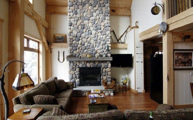 salones con chimenea modernos rustica piedra ideas