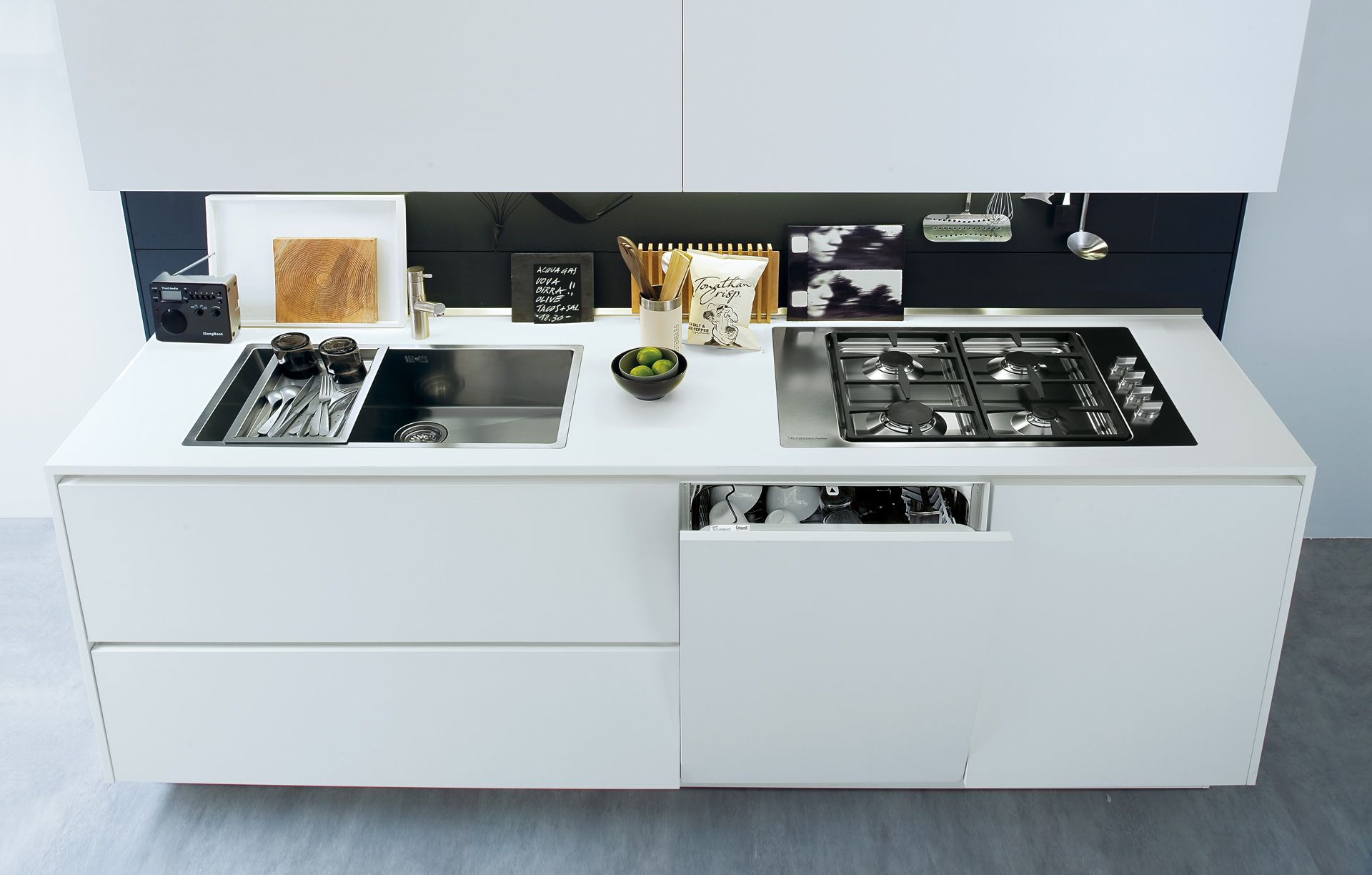 integrated dishwasher / white colour / finger pull handle detail