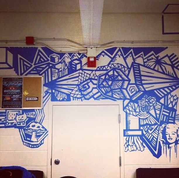 A blue tape mural  So much patience in planning on this one