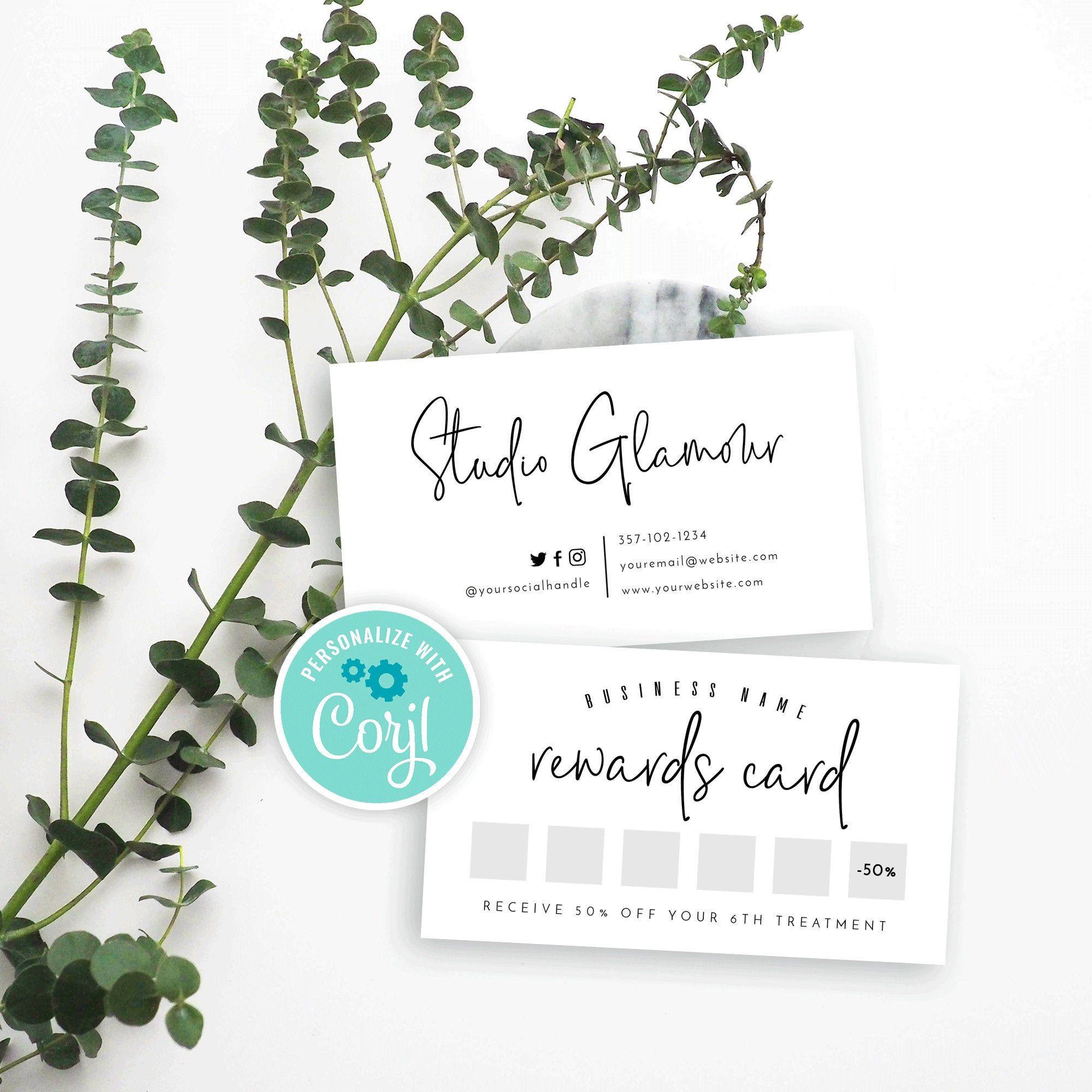 Printable Loyalty Card Design Minimalist Rewards Card Etsy Loyalty Card Design Loyalty Card Template Card Design