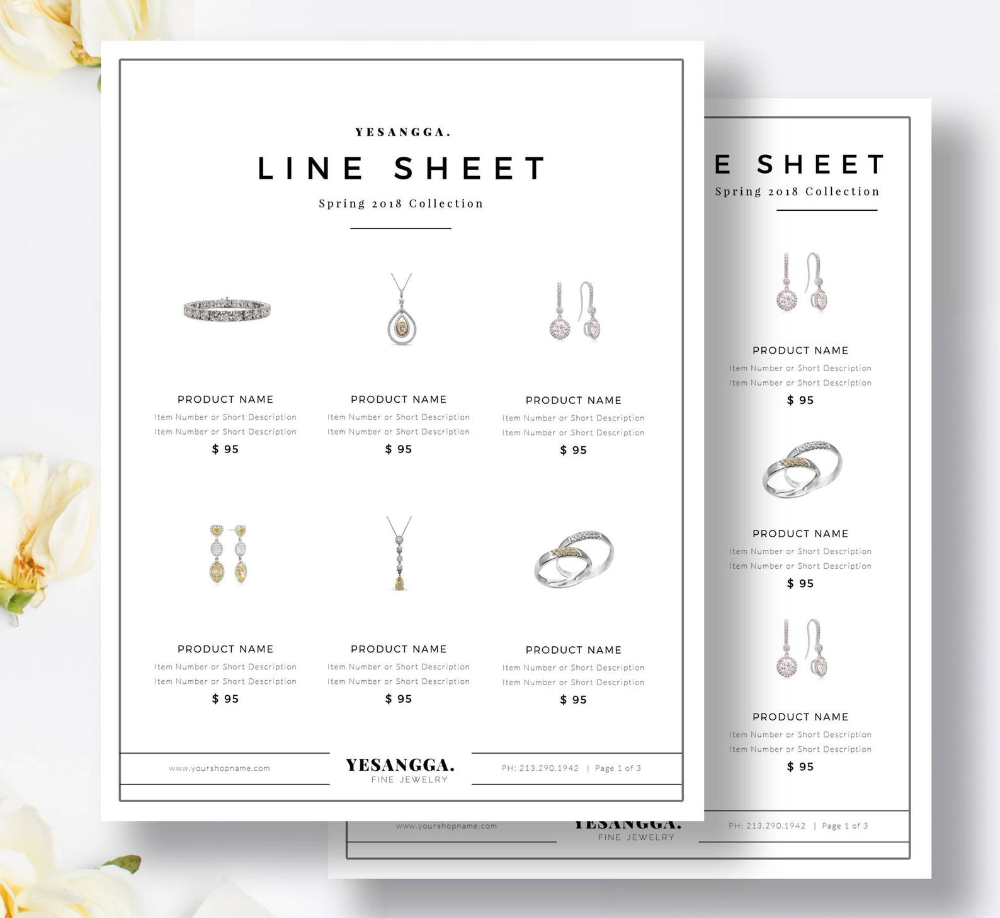 Minimalist Line Sheet Template Wholesale Catalog 4 Layouts Product Sales Sheet Photoshop Indesign Ms Word Instant Download Product Sales Sheet Catalog Design Layout Wholesale Catalog