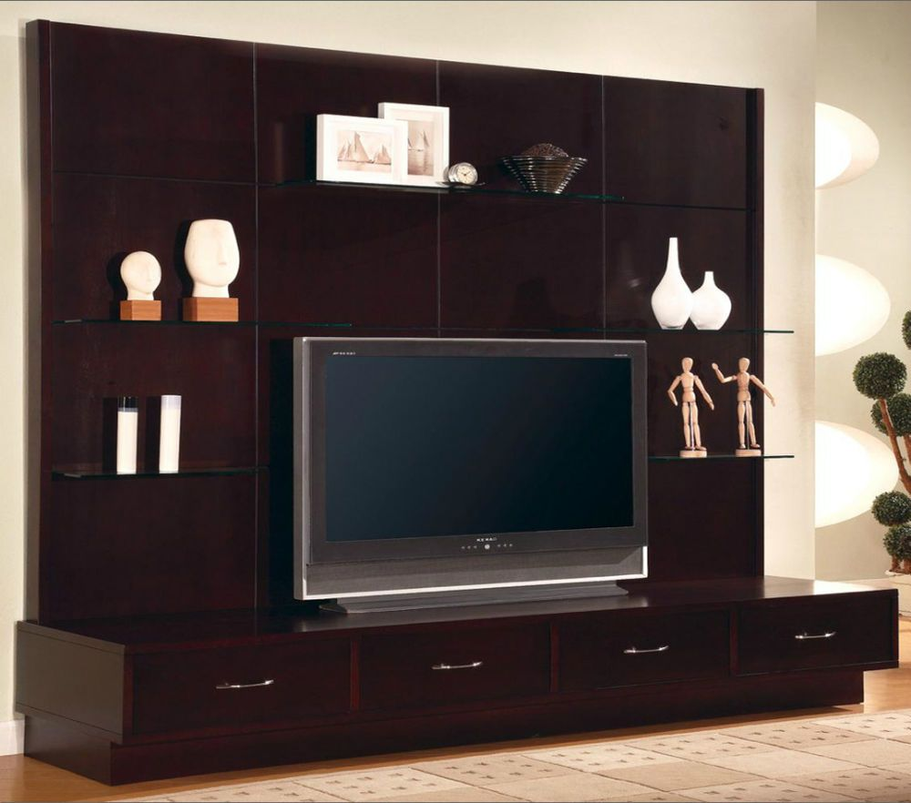 modern flat panel tv wall mount unit stand cappuccino