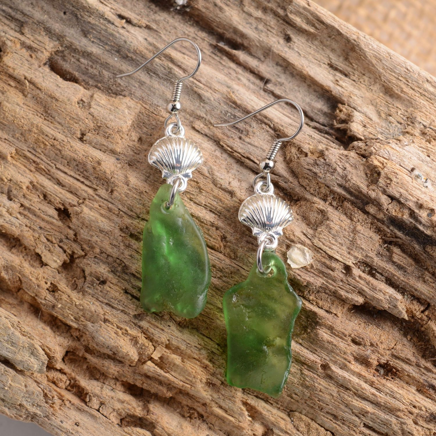Rhode Island Soda Bottle Green Bonfire Sea Glass With Silver Shell Wiring Connectors Your Choice Of Sterling Or Stainless Steel Ear Wires
