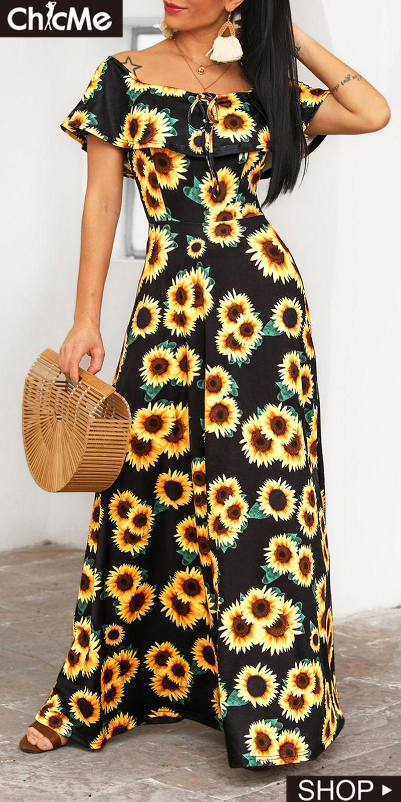 Off Shoulder Sunflower Print Maxi Dress Maxi Dress Printed Maxi Dress Dresses [ 1600 x 800 Pixel ]