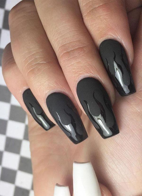 Negro uñas de arte diseña para la primavera 2020 – Boda fotos