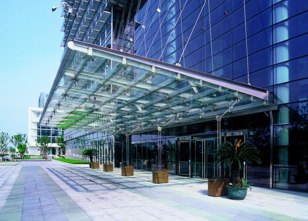 Glass Metal Cable Building Exterior Canopy