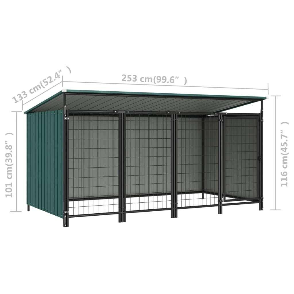 vidaXL outdoor dog kennel 253 x 133 x 116 cm