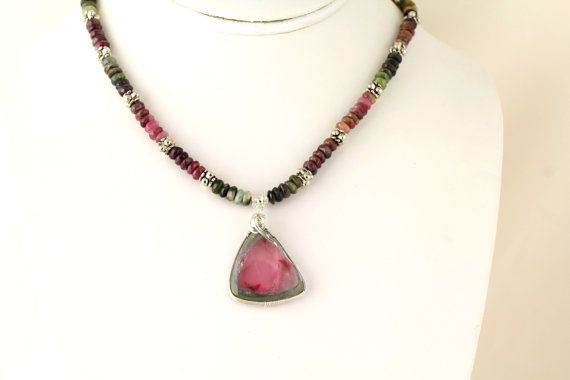 Tourmaline Necklace Listing 111783143 by Ptcreationsjewelry, $150.00